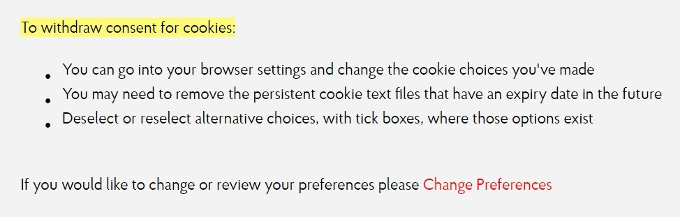 Post Office Cookie Policy: To Withdraw Consent for Cookies clause