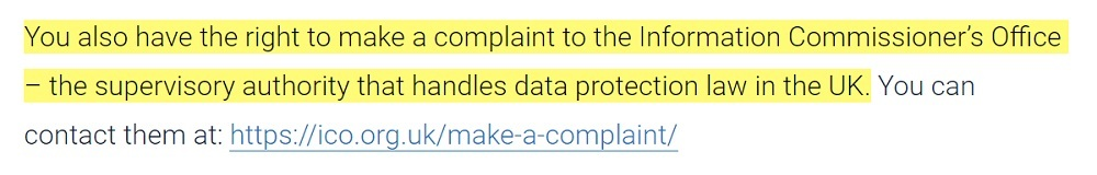Securys Privacy Policy: Right to make a complaint clause