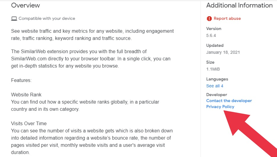 SimilarWeb Chrome Extension Store listing with Privacy Policy link highlighted