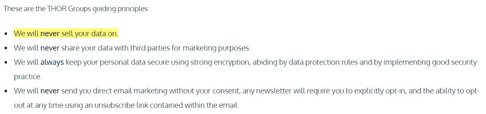 THOR Personal Care Privacy Policy: Guiding Principles - We will never sell your data section highlighted