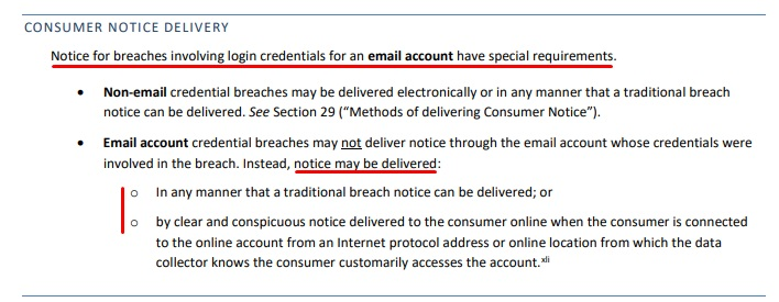 Vermont Security Breach Notice Act Guidance: Consumer Notice Delivery - Email account section