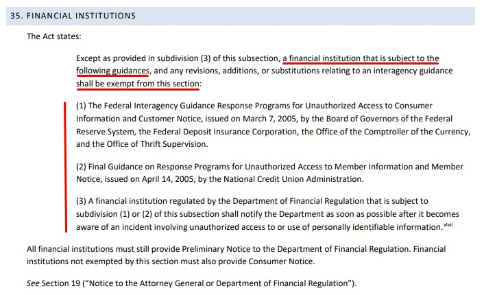 Vermont Security Breach Notice Act Guidance: Financial Institutions exempt section