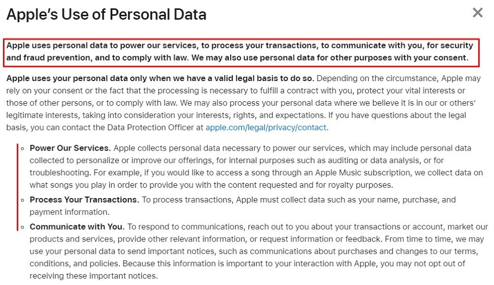 Apple Privacy Policy: Apple's Use of Personal Data clause excerpt