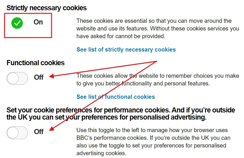BBC Cookie Consent preferences page