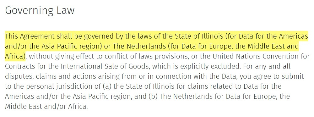 HERE EULA: Governing Law clause