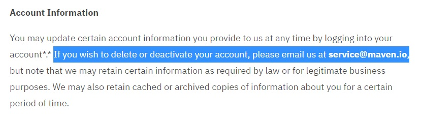 Maven Privacy Policy: Account Information update clause