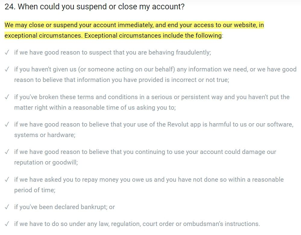 Revolut Personal Terms: Account termination clause