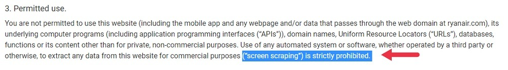 Ryanair Terms of Use: Permitted Use clause - Screen scraping prohibited highlighted