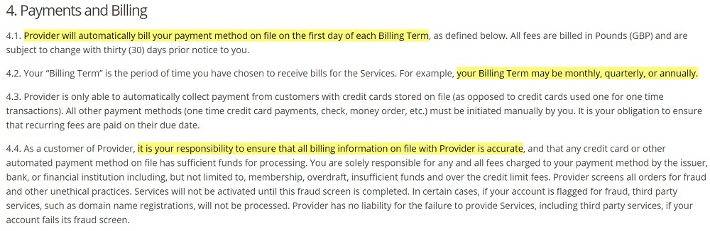 Secure Fast Hosting Terms of Service: Payments and Billing clause
