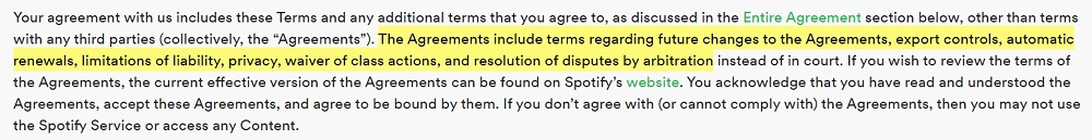 Spotify Terms and Conditions of Use: Introduction clause - Incorporated agreements section