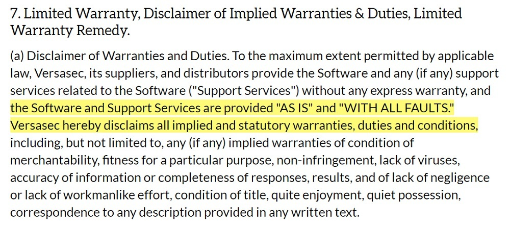 Versasec License Agreement: Warranty Disclaimer clause
