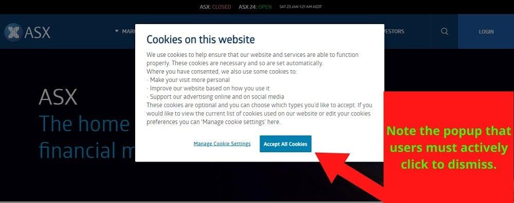 Australian Securities Exchange cookie consent notice