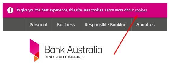 Bank Australia website header with cookie statement with cookies link highlighted