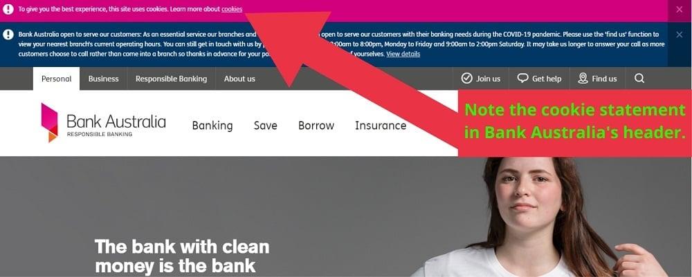 Bank Australia website header with cookie statement