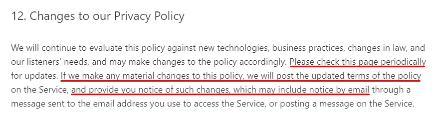 Pandora Privacy Policy: Changes or updates to the Privacy Policy clause excerpt