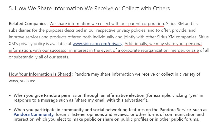 Pandora Privacy Policy: How We Share Information We Receive or Collect with Others clause excerpt