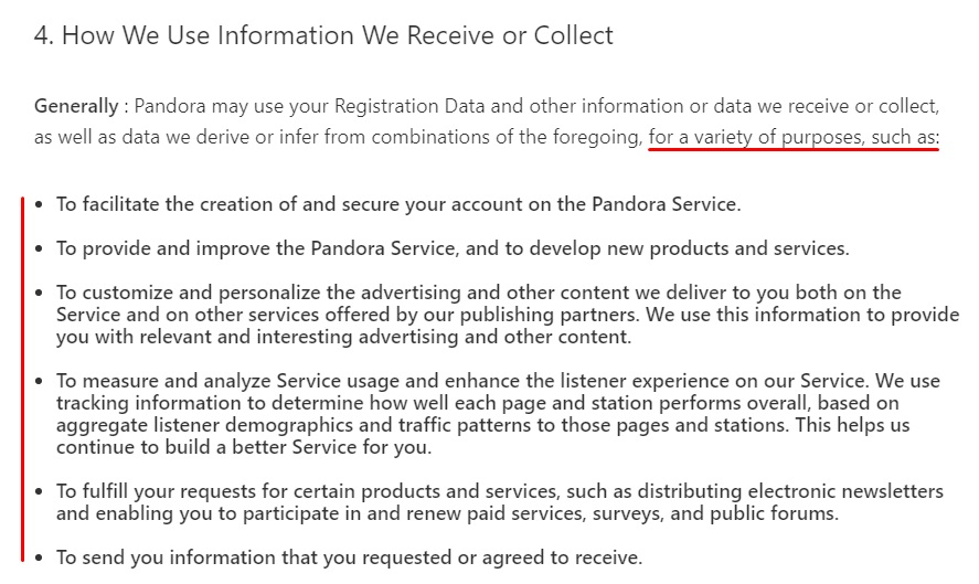 Pandora Privacy Policy: How We Use Information We Receive or Collect clause excerpt