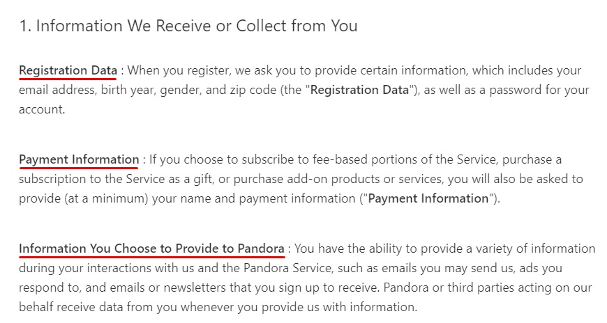 Pandora Privacy Policy: Information We Receive or Collect from You clause excerpt