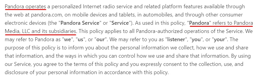 Pandora Privacy Policy: Intro clause