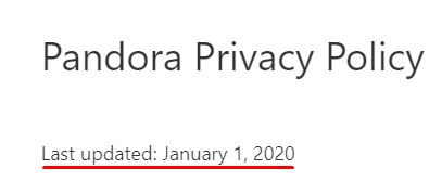 Pandora Privacy Policy with last updated date highlighted