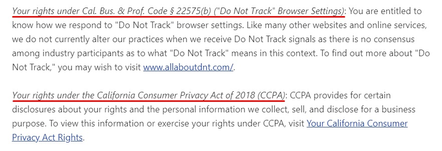 Pandora Privacy Policy: Your Privacy Rights Under State Laws clause excerpt