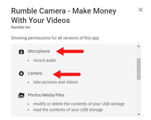 Rumble Camera mobile app Permissions screen