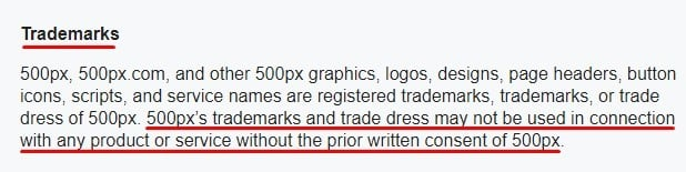 500px Terms of Service: Trademarks clause