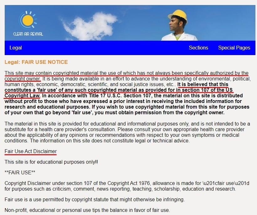 Clean Air Revival Fair Use Notice Disclaimer excerpt