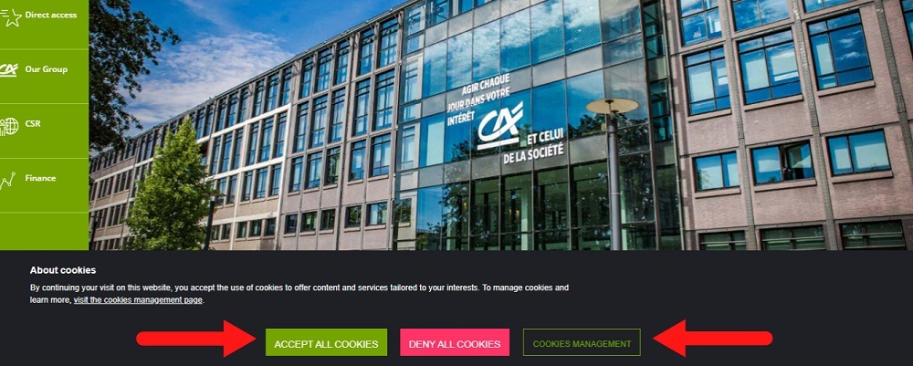 Credit Agricole cookie consent banner notice