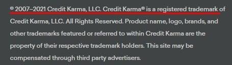 Credit Karma website footer copyright notice 2021