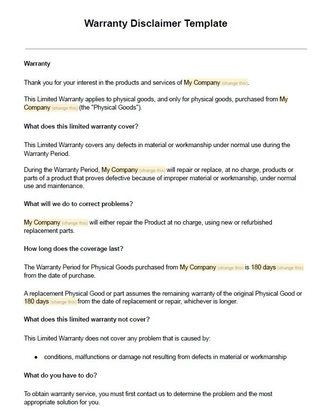Sample Warranty Disclaimer Template - TermsFeed