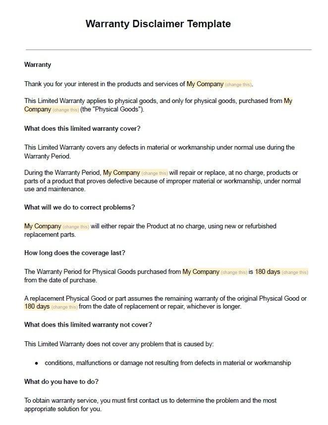 generic-warranty-disclaimer-template-screenshot