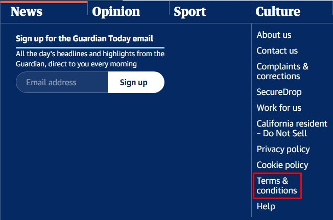 The Guardian website footer with Terms and Conditions link highlighted