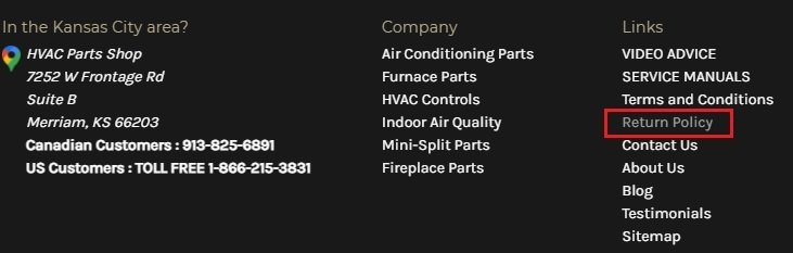 HVAC Parts Shop website footer with Return Policy link highlighted