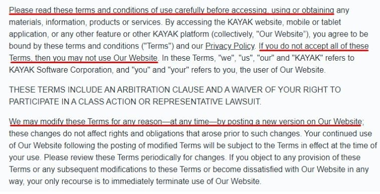Kayak Terms and Conditions intro paragraph