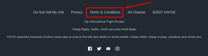 Kayak website footer with Terms and Conditions link highlighted