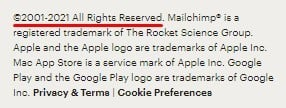 MailChimp website footer with copyright notice highlighted