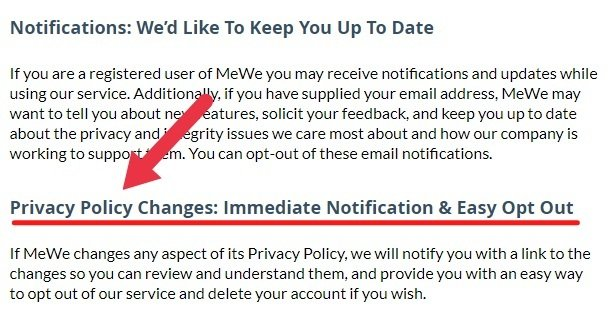 MeWe Privacy Policy: Notifications, Privacy Policy Changes and Updates clauses