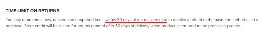 Paul Mitchell Shipping and Returns: Time Limit on Returns clause