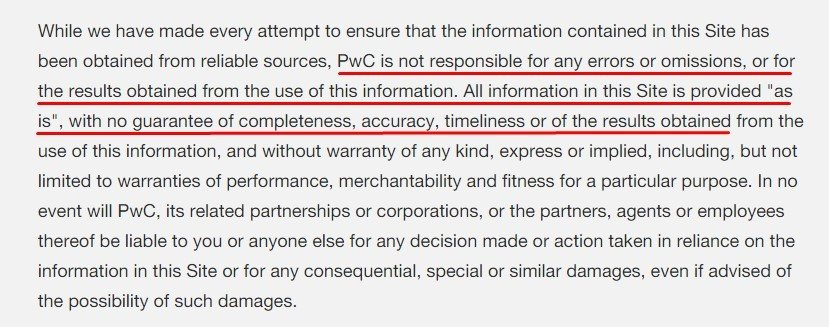 PwC Legal Disclaimer: Errors and omissions as-is section highlighted
