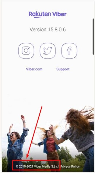 Rakuten Viber mobile app screen with copyright notice highlighted