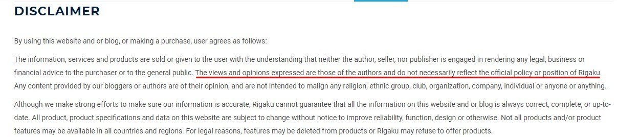 Rigaku Disclaimer excerpt with views expressed disclaimer section highlighted