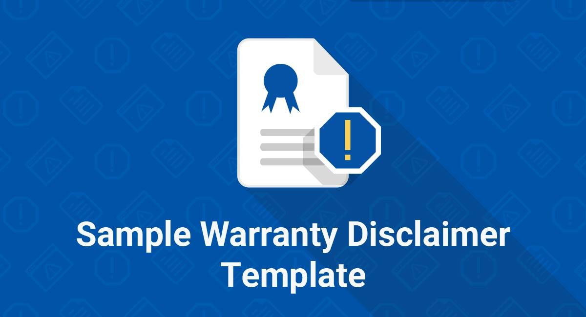 Sample Warranty Disclaimer Template