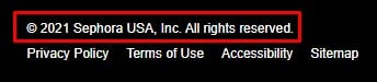 Sephora website footer with copyright notice highlighted