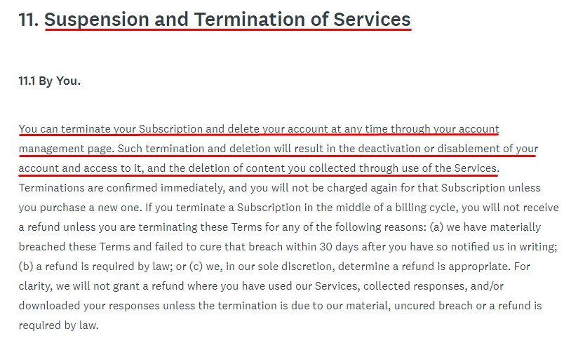 SurveyMonkey Terms of Use: Suspension and Termination of Services clause excerpt