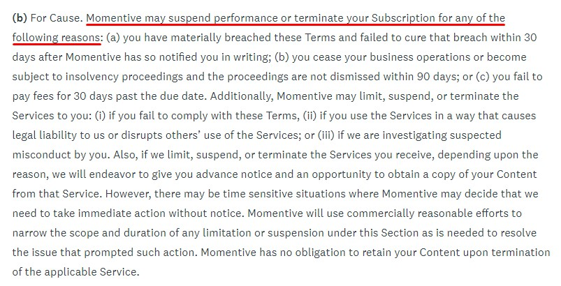 SurveyMonkey Terms of Use: Suspension and Termination of Services clause from company excerpt