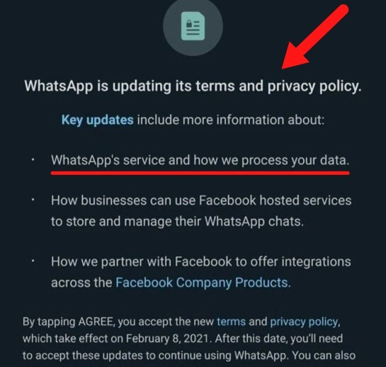 WhatsApp updating terms and Privacy Policy notice with Agree for consent