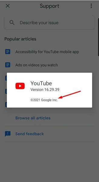 YouTube mobile-app about screen with copyright notice highlighted