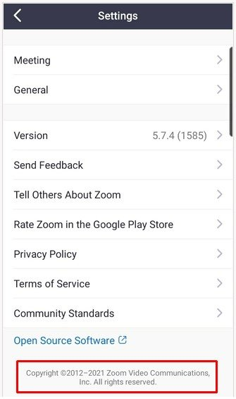 Zoom mobile app Settings menu with copyright notice highlighted