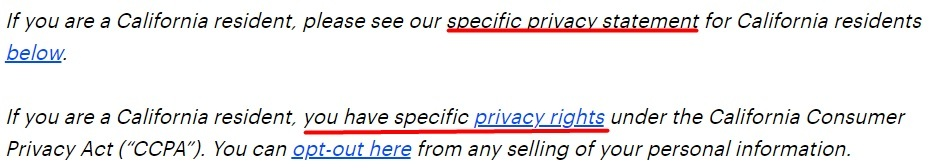 Accenture Privacy Statement: California resident section